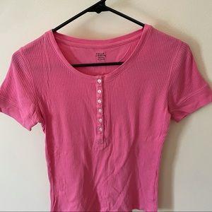 Pink Henley button down shirt sleeve blouse XL